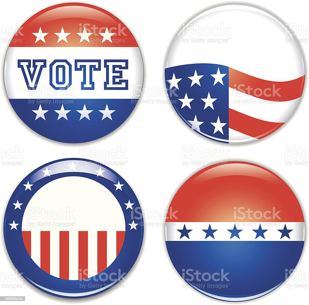 Glossy Election Buttons royalty-free stock vector art