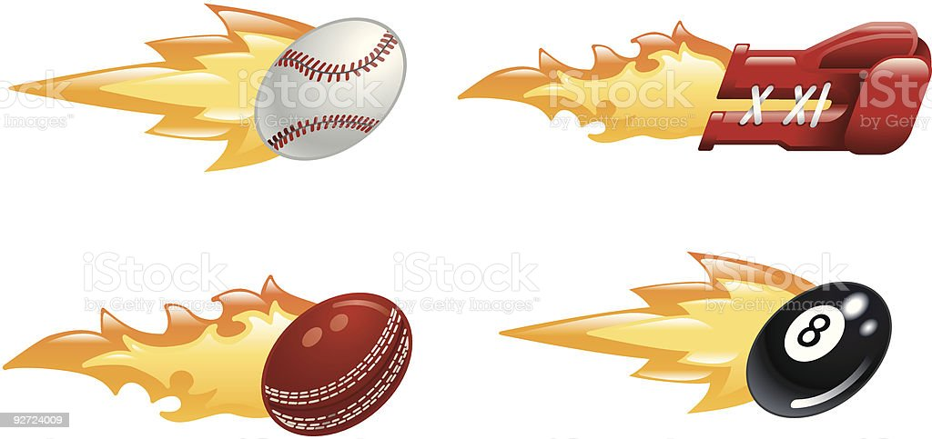 Glossy flaming sport icons royalty-free stock vector art