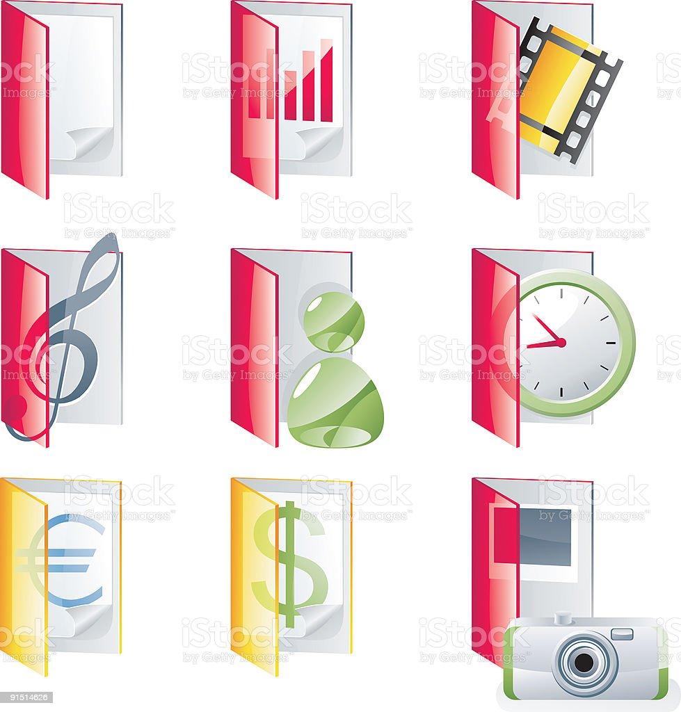 Glossy folders icon set royalty-free stock vector art