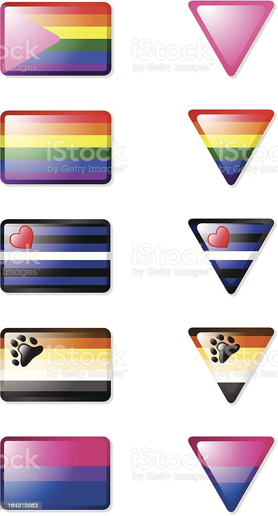 Glossy Gay Pride Icon Set royalty-free stock vector art