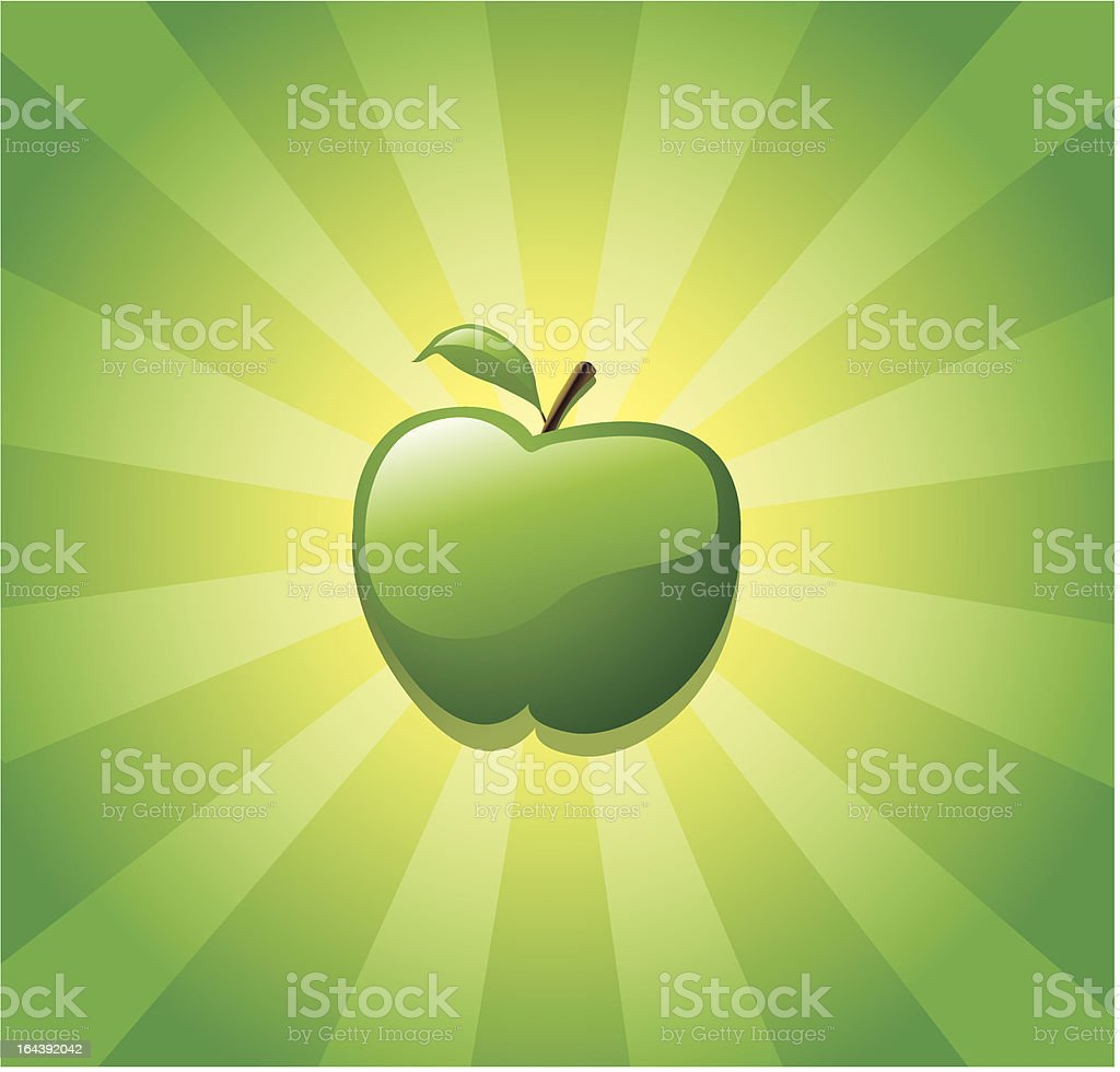 glossy green apple vector art illustration