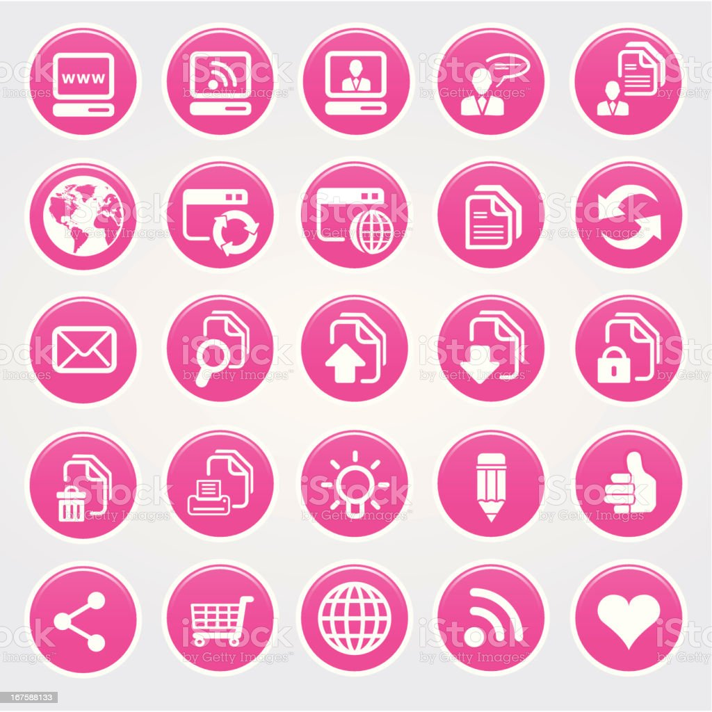Glossy Pink Web Icon Set vector art illustration
