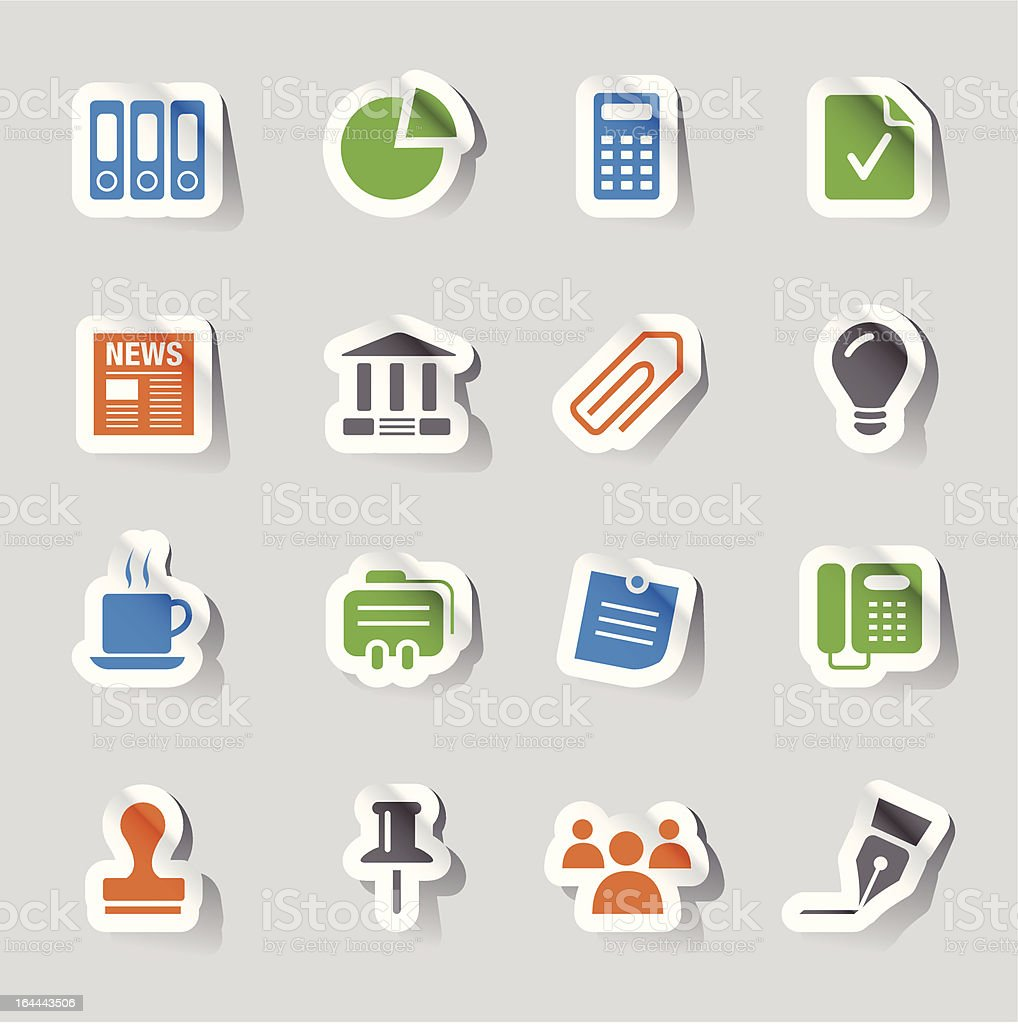 Glossy Stickers - Office and Business icons royalty-free stock vector art