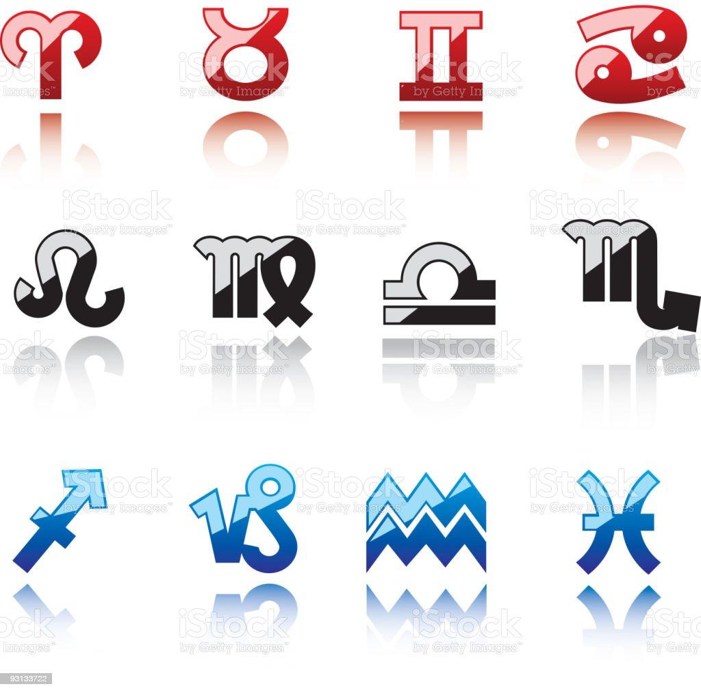 Glossy symbols of horoscope royalty-free stock vector art