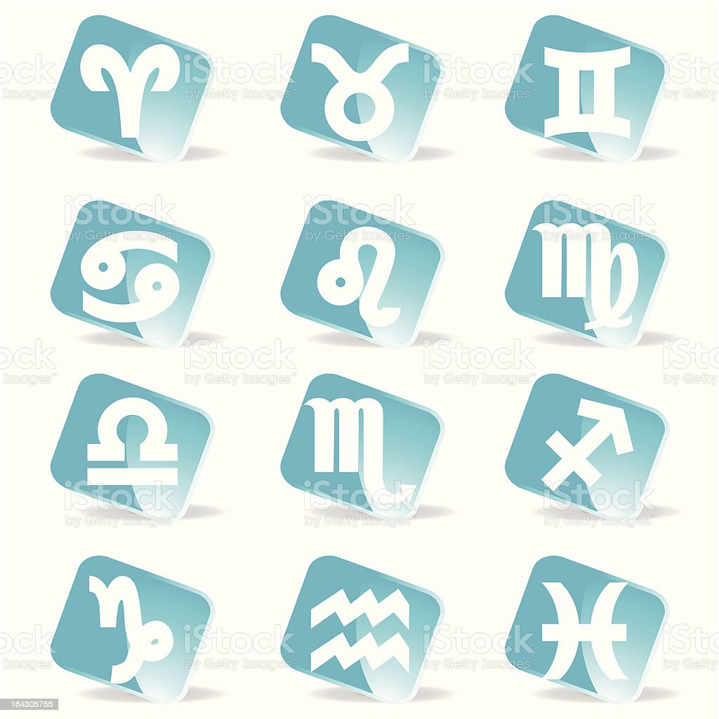 glossy zodiac signs icon set royalty-free stock vector art