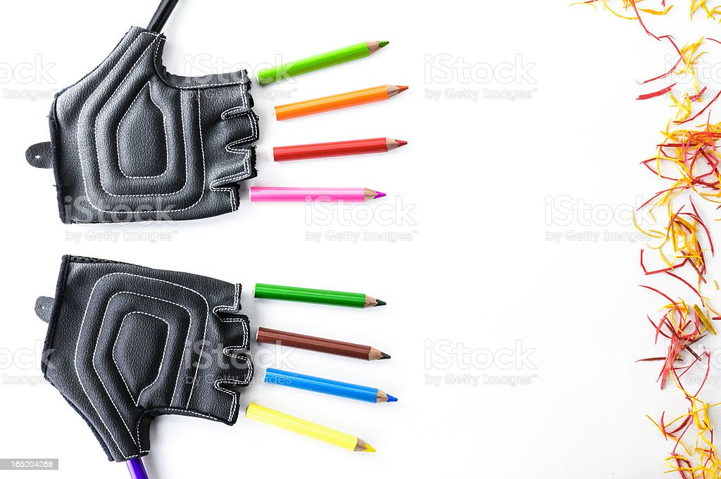 gloves and pencils royalty-free stock vector art