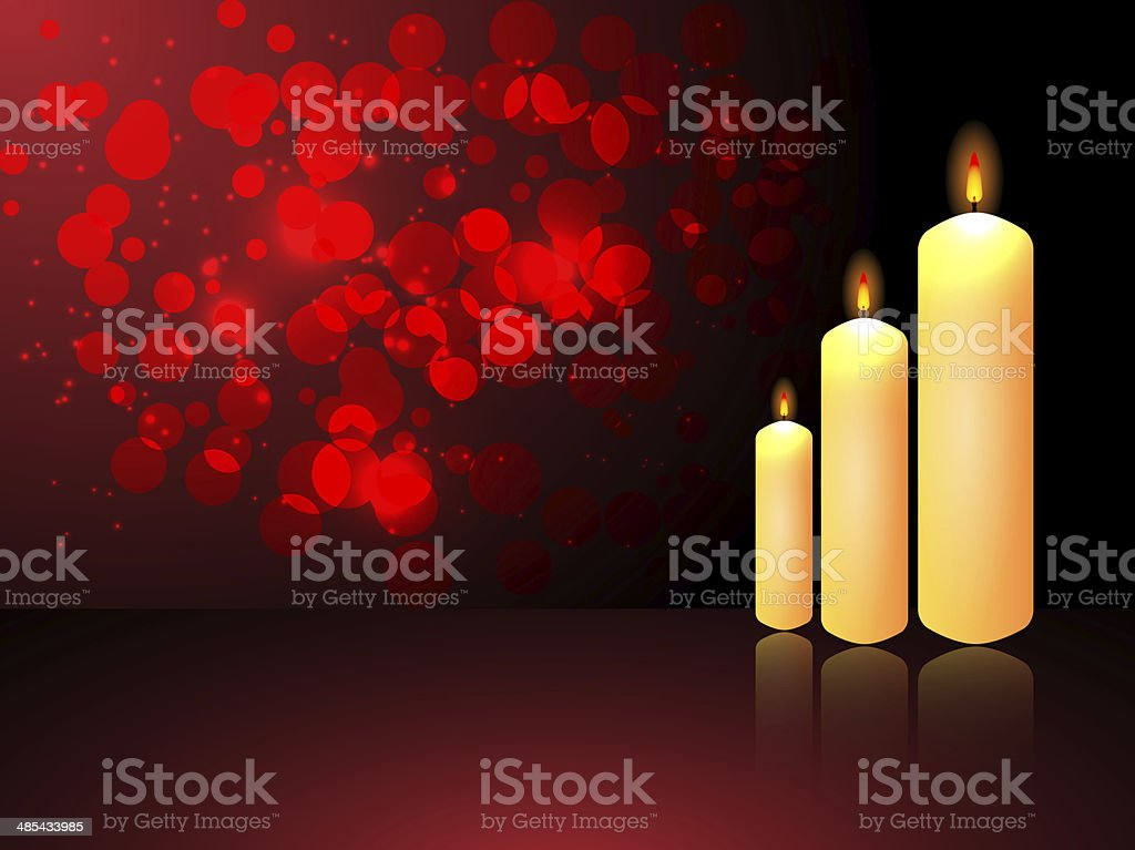 Glowing candle on abstract background vector art illustration