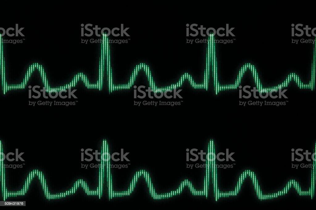 Glowing electrocardiogram line vector art illustration