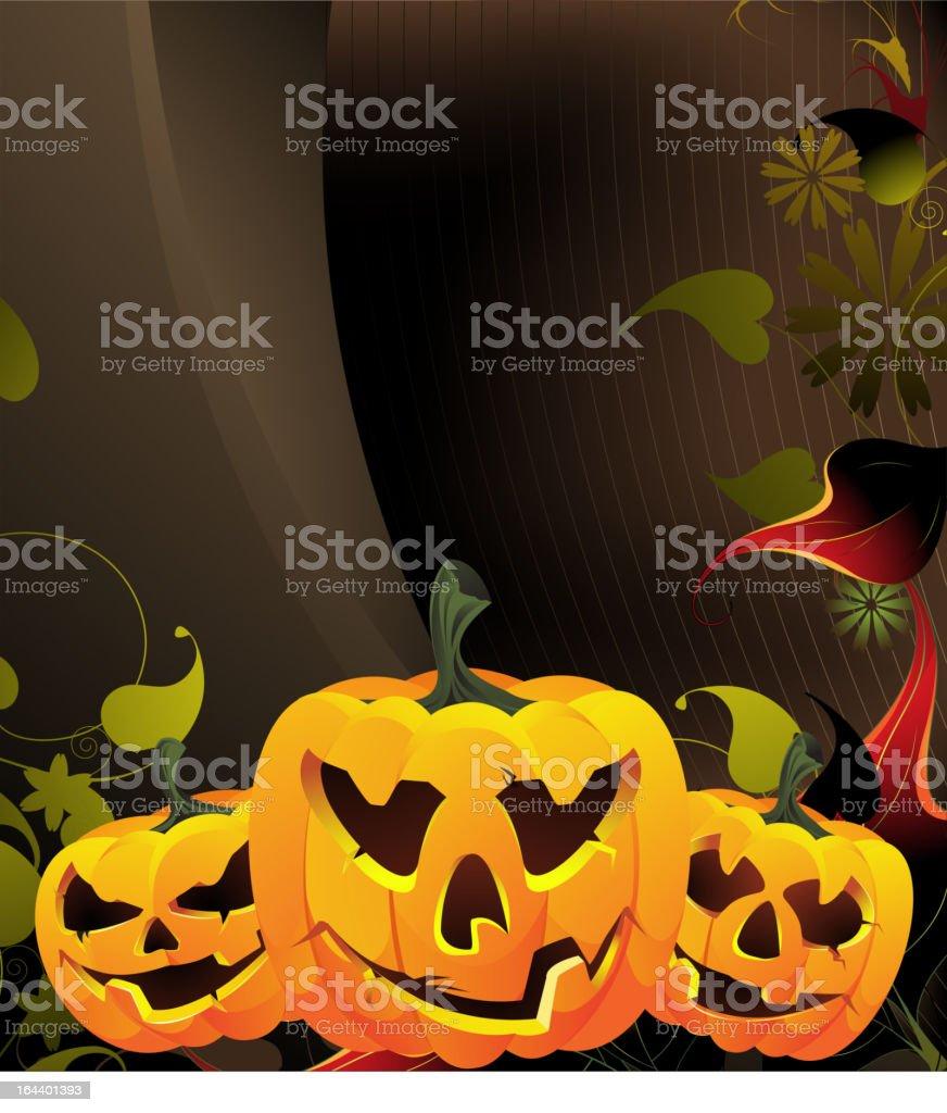Glowing pumpkin head royalty-free stock vector art