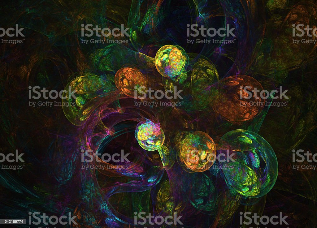 glowing rainbow curved lines and spheres over dark Abstract Back vector art illustration