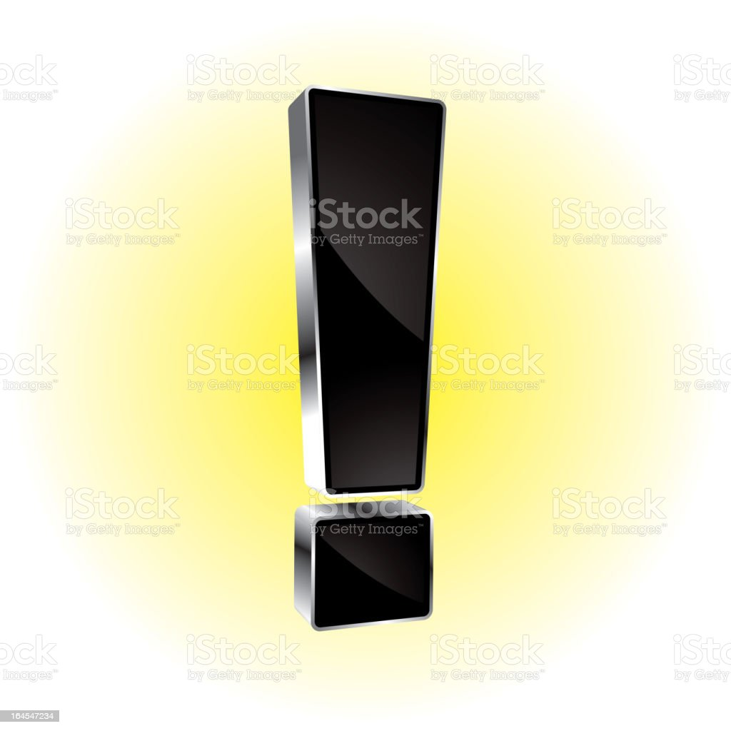 Glowing shiny exclamation mark royalty-free stock vector art