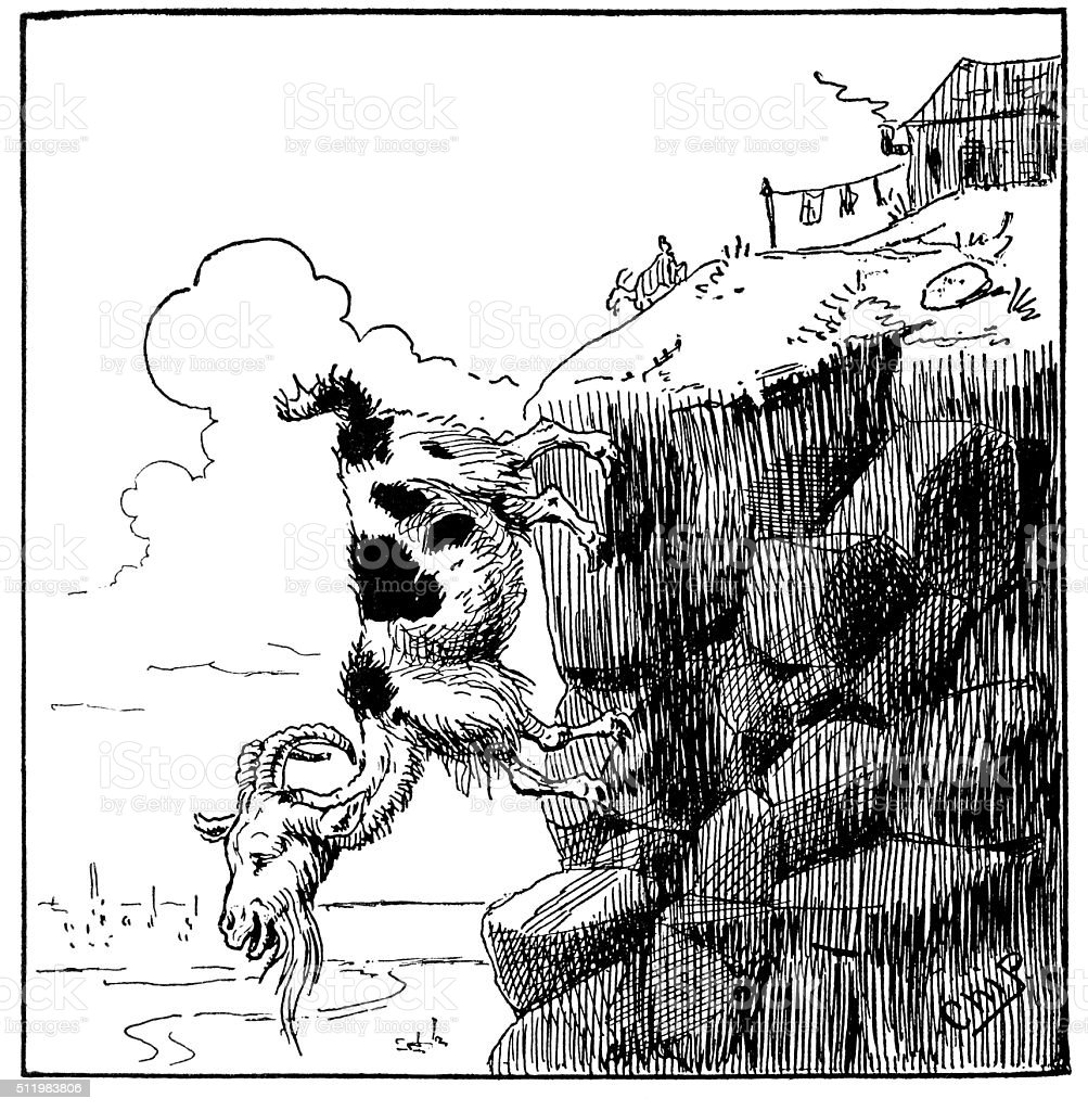 Goat on a cliff vector art illustration