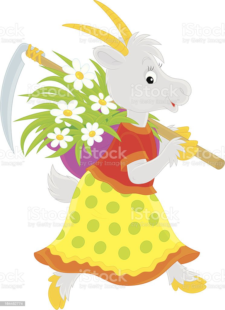 Goat with scythe and mown grass vector art illustration