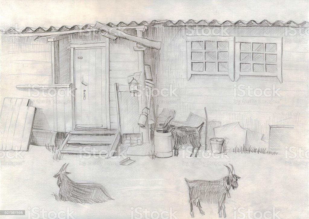Goats near rustic home, monochrome pencil drawing vector art illustration