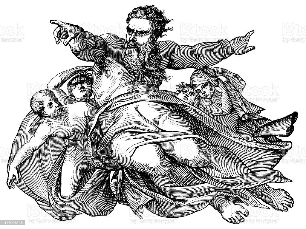 God | Antique Bible Illustrations royalty-free stock vector art