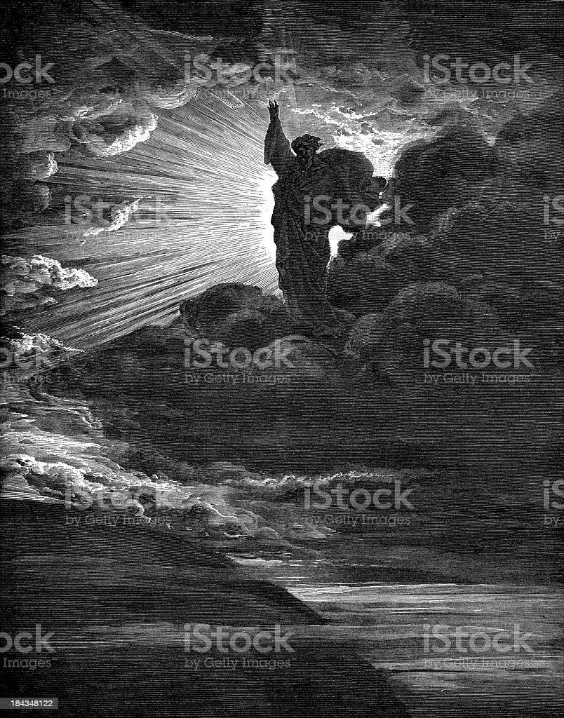 God creates light royalty-free stock vector art