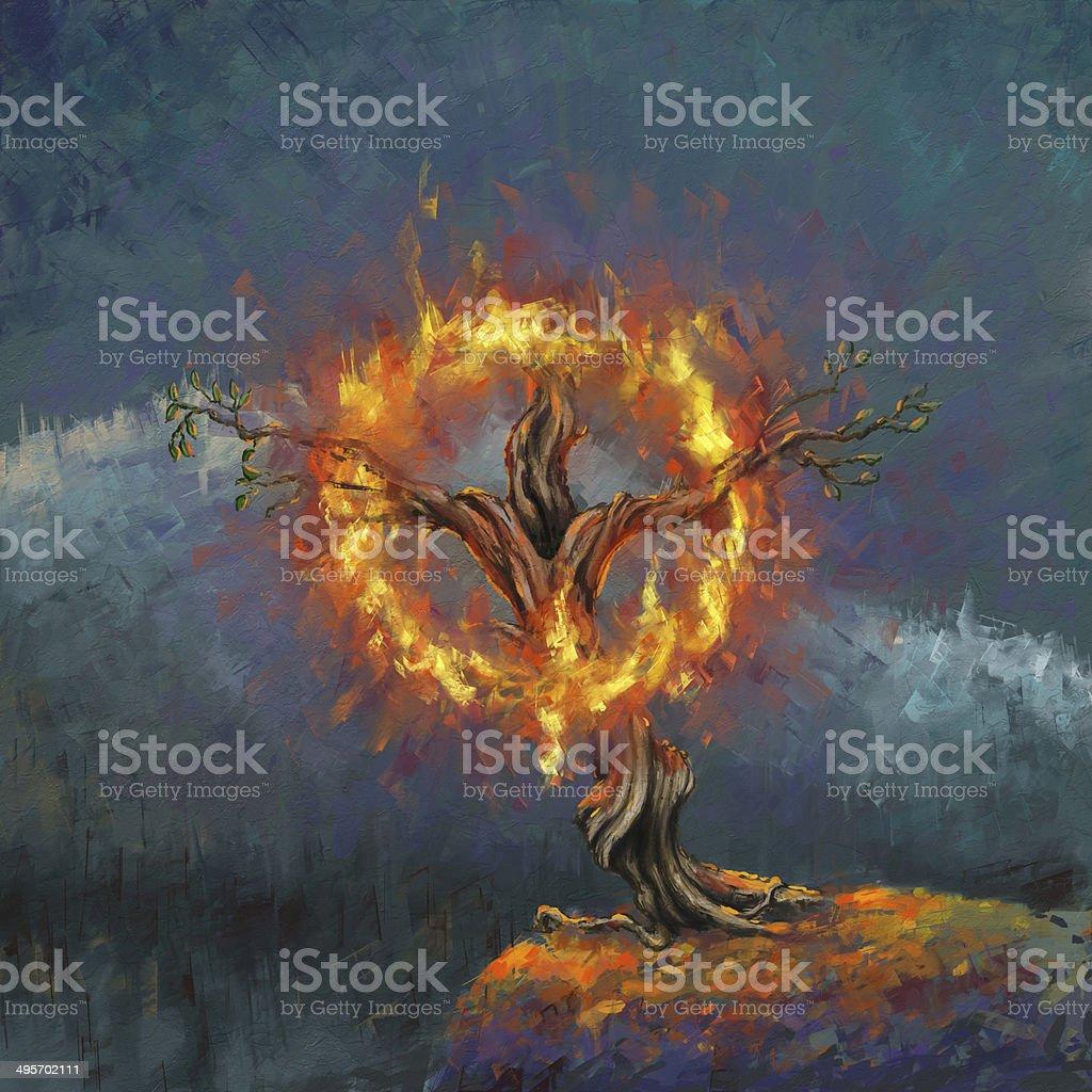 God in the burning bush vector art illustration