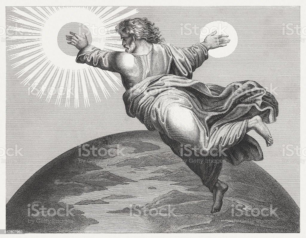 God mad sun and moon (Genesis 1), published 1841 vector art illustration