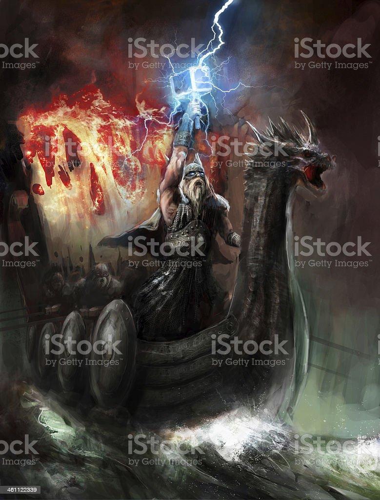god of lightning vector art illustration