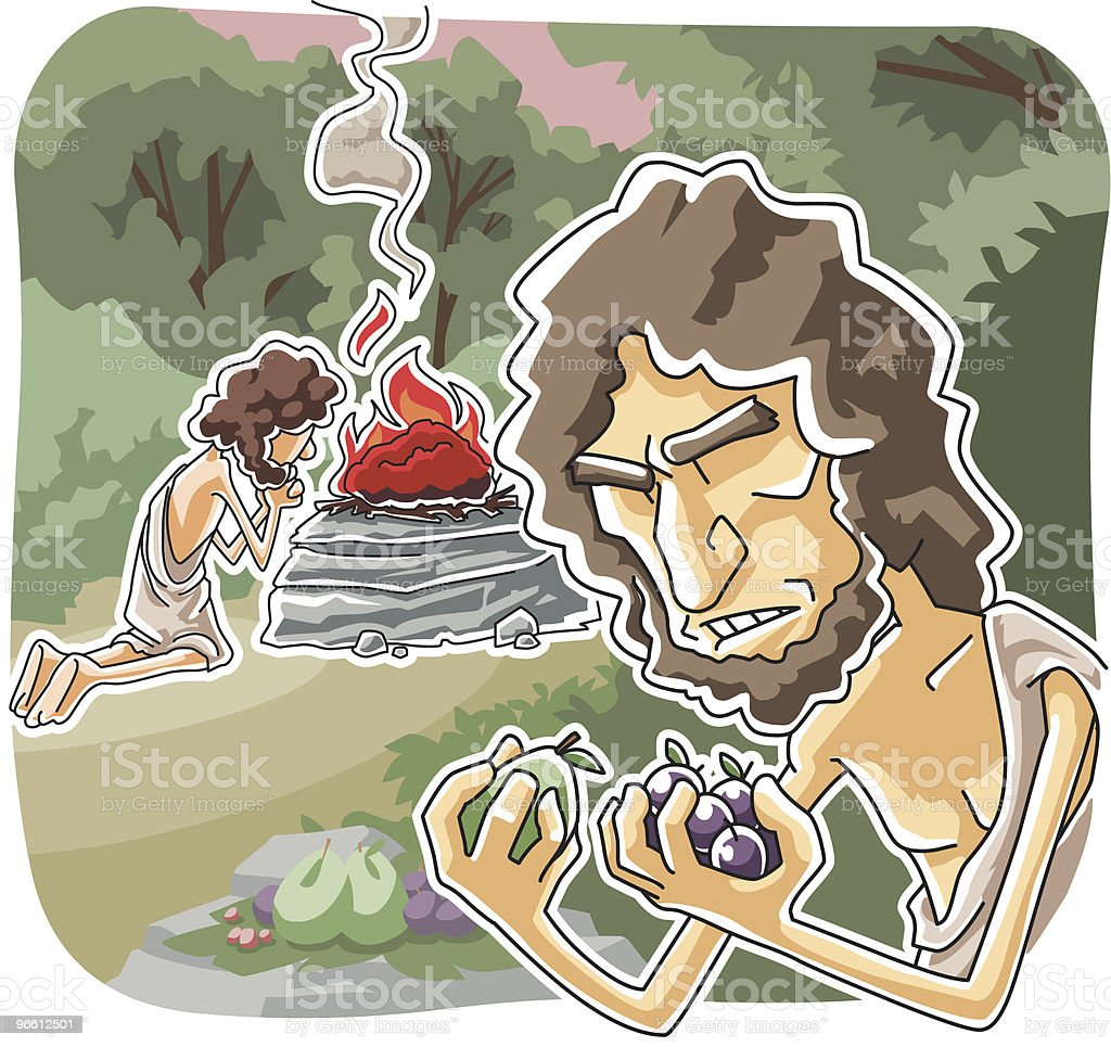 God rejected Cain's offering vector art illustration