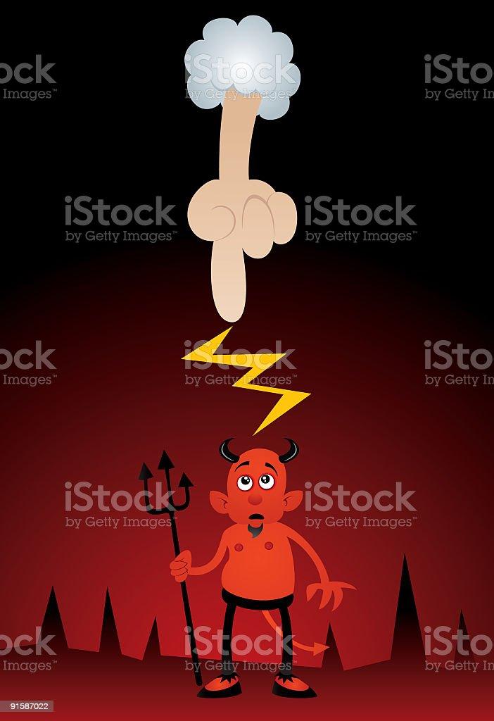 God Zapping Devil royalty-free stock vector art