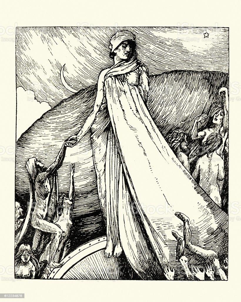Goddess Fortuna vector art illustration