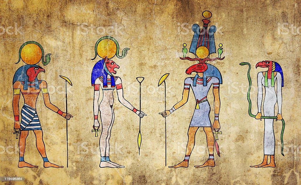 Gods of ancient Egypt vector art illustration