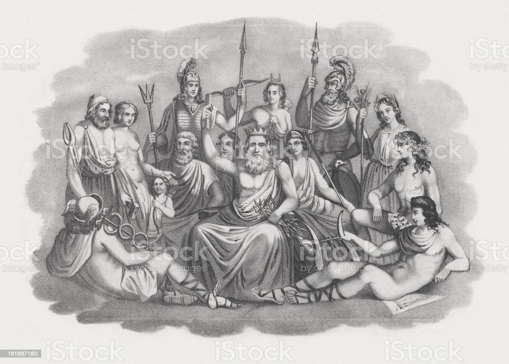 Gods of Greek Mythology, lithograph, published in 1852 vector art illustration