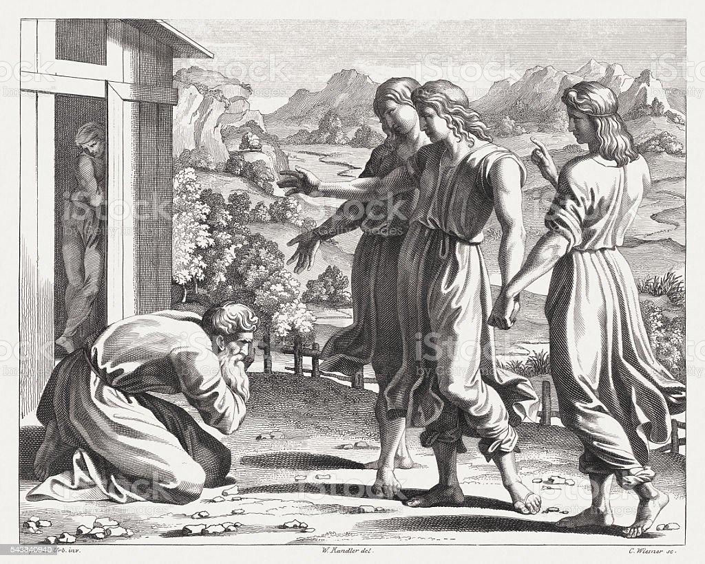 God's promise to Abraham (Genesis 18), steel engraving, published 1841 vector art illustration