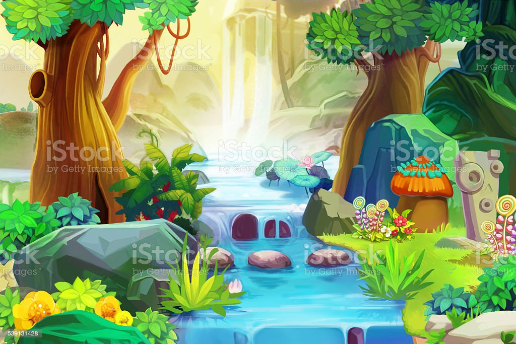 Going Upstream. Realistic Fantastic Cartoon Style Artwork Scene, Wallpaper vector art illustration