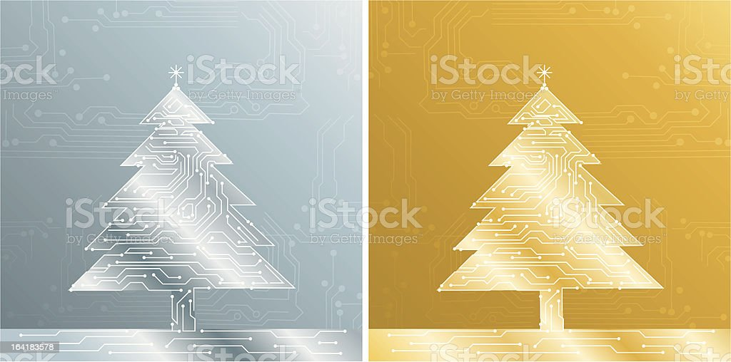 gold and silver christmas treee royalty-free stock vector art