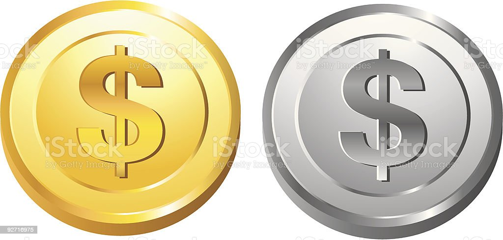 Gold and Silver Coin royalty-free stock vector art