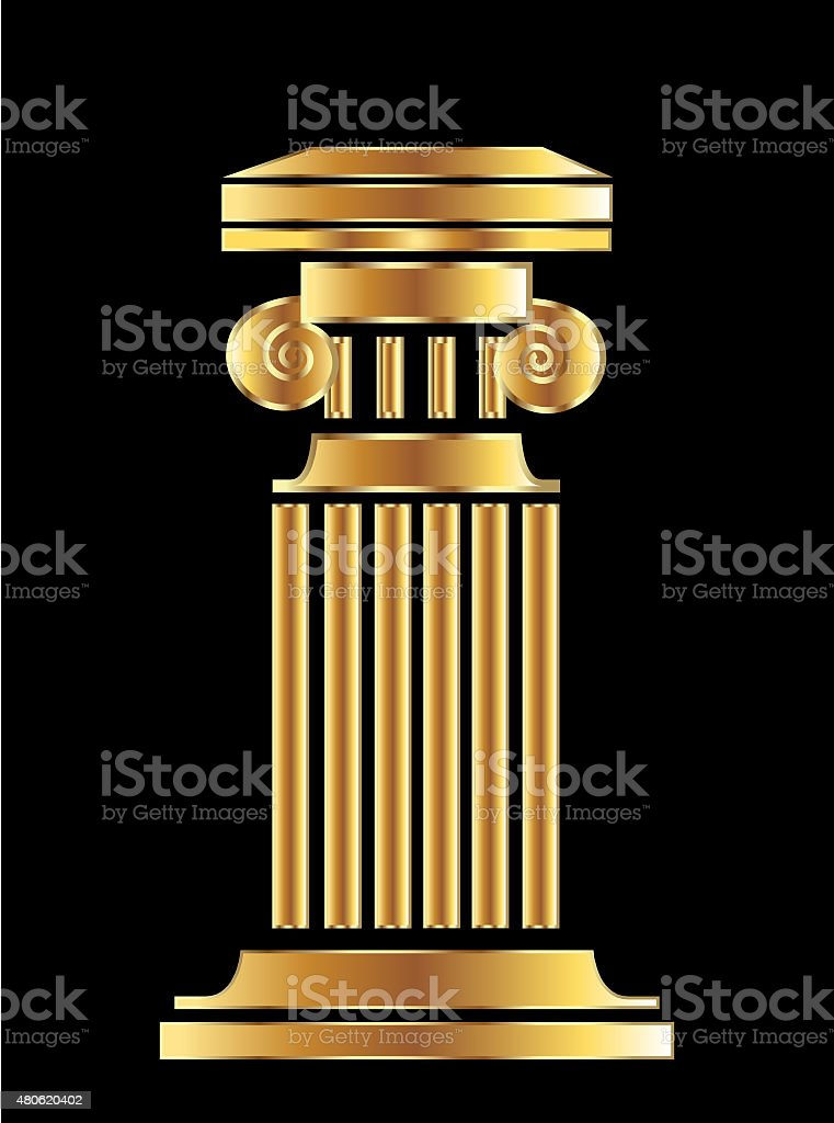Gold column logo vector art illustration