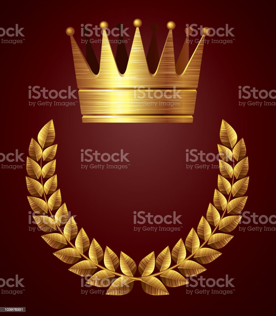 Gold crown with wreath royalty-free stock vector art