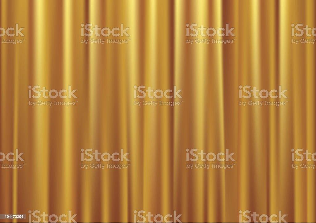 Gold curtain vector art illustration