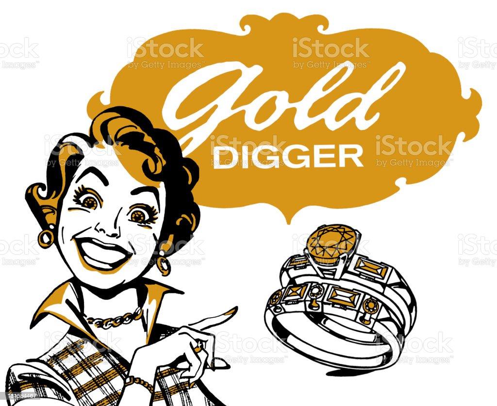 Gold Digger Woman vector art illustration