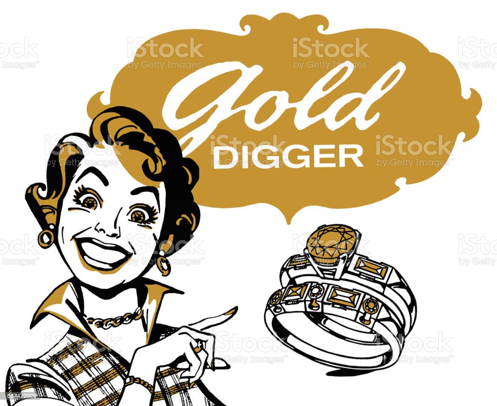 Gold Digger Woman vector art illustration