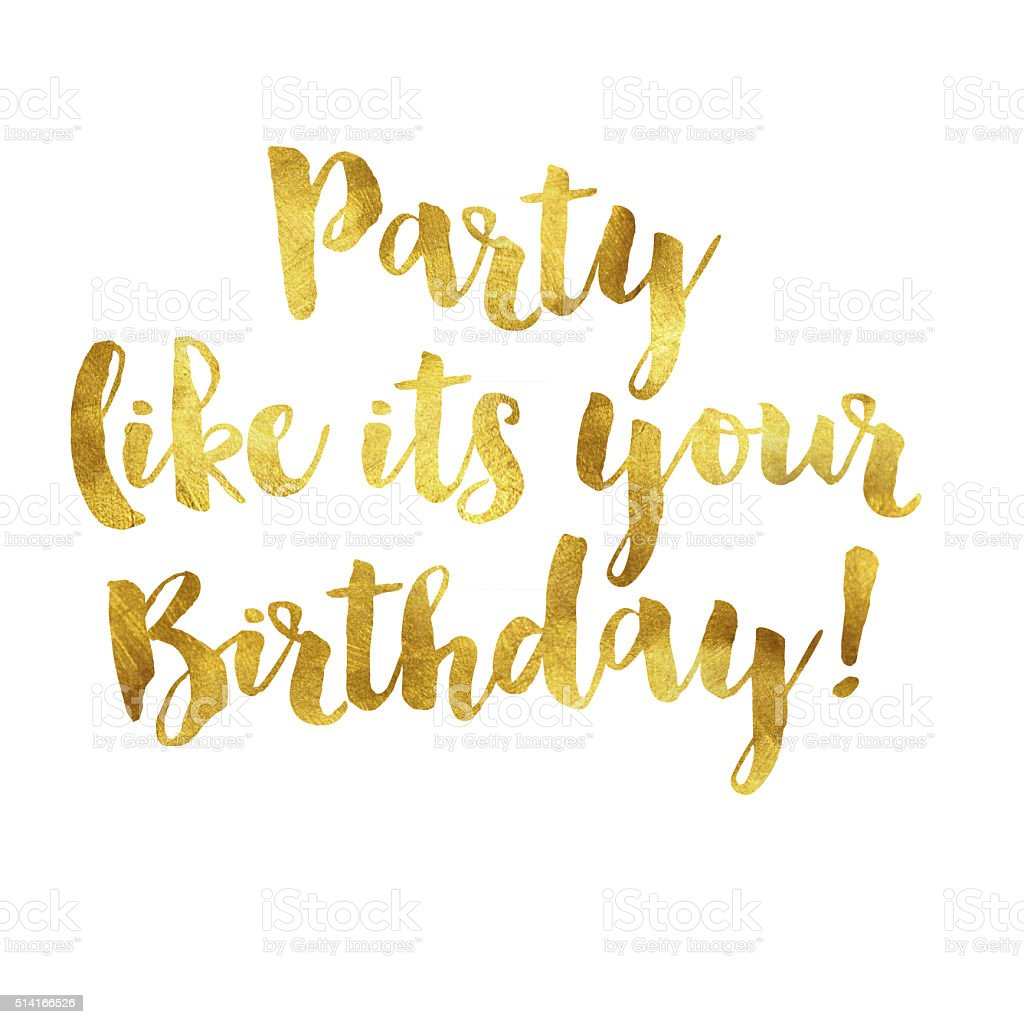 Gold foil birthday message vector art illustration