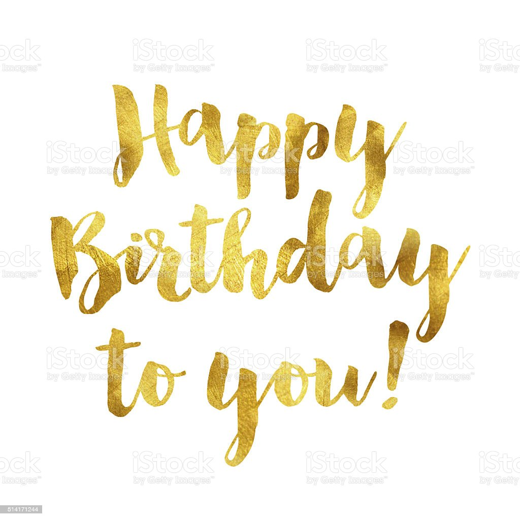 Gold foil birthday message vector art illustration