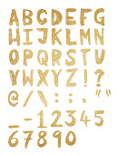 Gold foil hand drawn alphabet