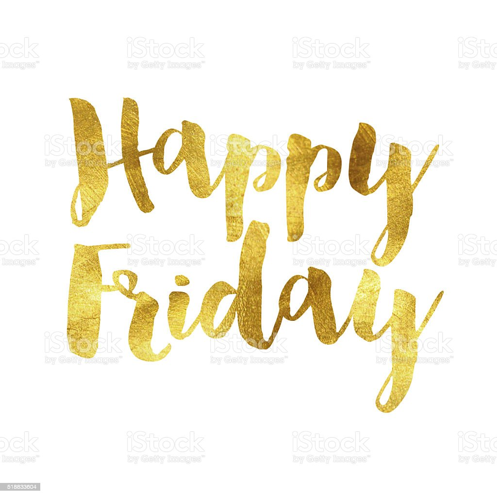 Gold foil Happy Friday message stock photo