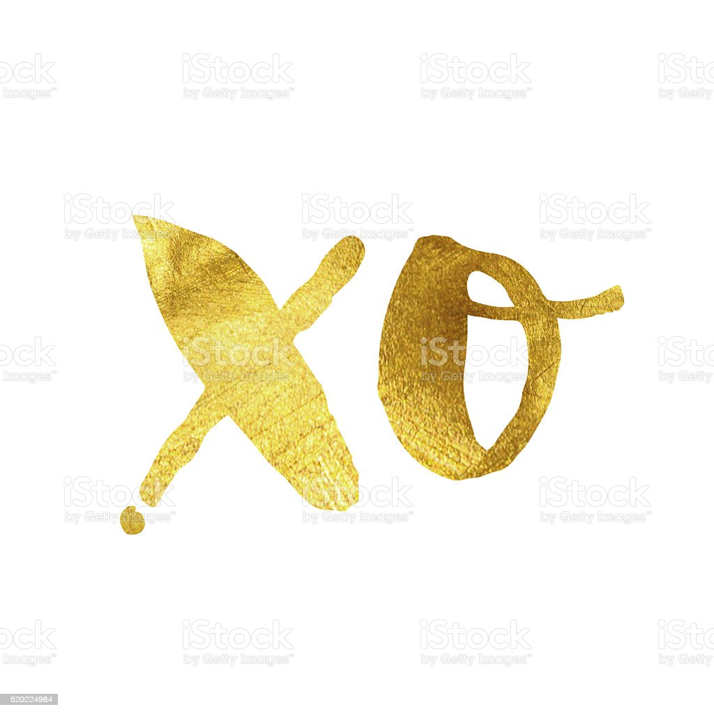 XO gold foil message stock photo