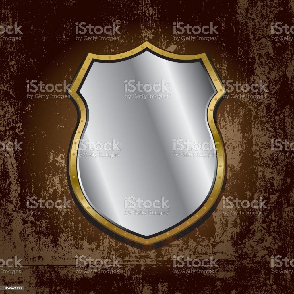 gold frame mirror on grunge wall vector art illustration