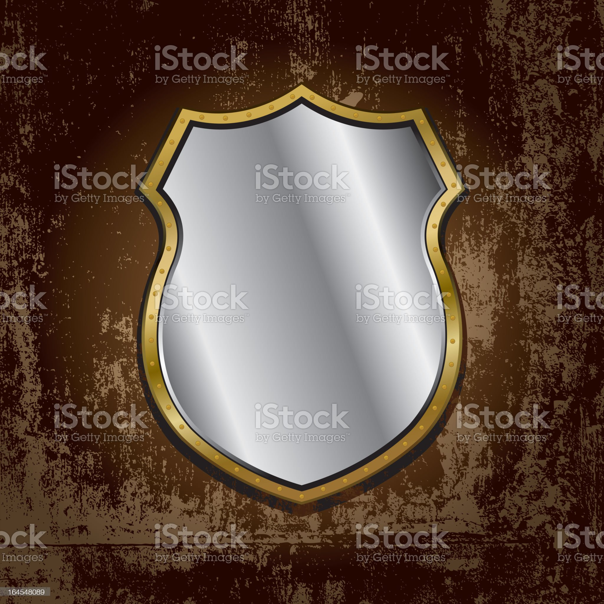 gold frame mirror on grunge wall royalty-free stock vector art
