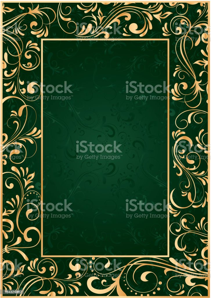 Gold frame on green background royalty-free stock vector art