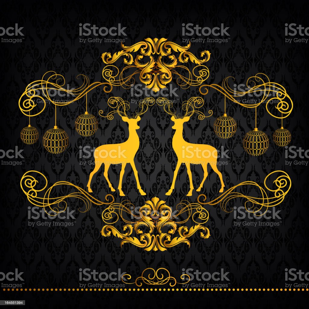 Gold Frame with Reindeer royalty-free stock vector art