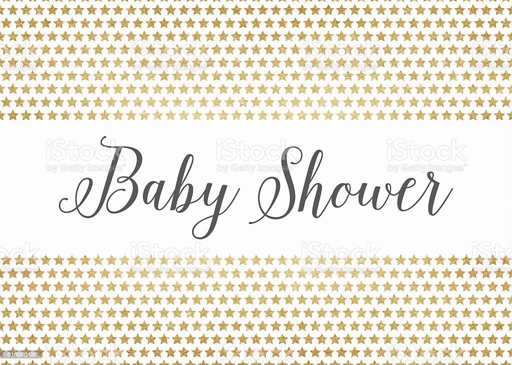 Gold glitter baby shower background stock photo