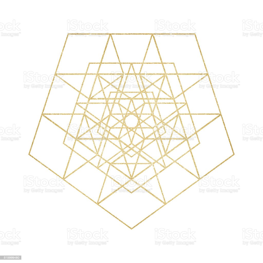 Gold glitter geometric line art stock photo