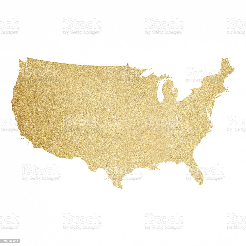 Glitter, Gold, Map, World Map, Usa