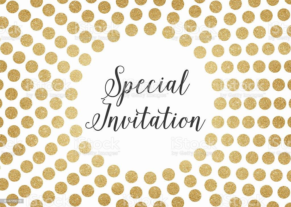 Gold glitter special invitation background vector art illustration